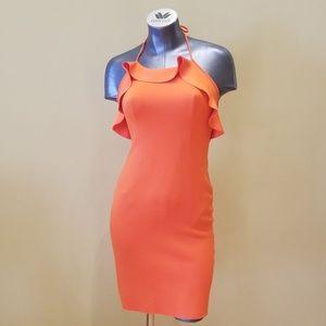 Lanvin Orange Short Evening Dress